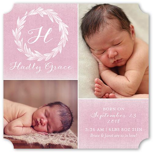 Newborn Monogram Girl Birth Announcement, Ticket Corners