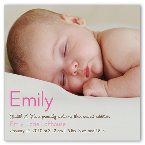 Baby Girl Name Birth Announcement by Petite Lemon – Baby Name Announcement