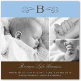welcome monogram blue birth announcement 5x5 flat