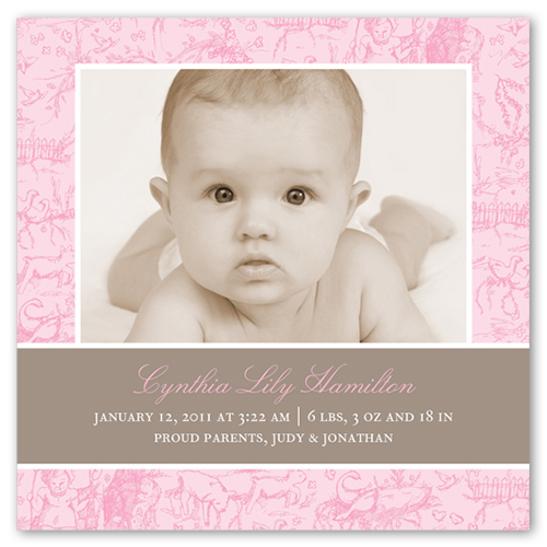 French Rose Girl 5x5 Flat Birth Announcements by Petite Lemon – Photo Birth Announcement