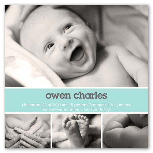 Modern Aqua Birth Announcement, Square Corners