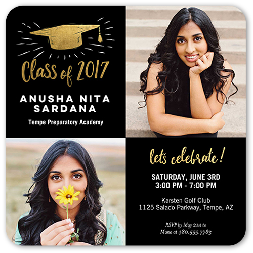 Sketched Cap Graduation Invitation, Rounded Corners