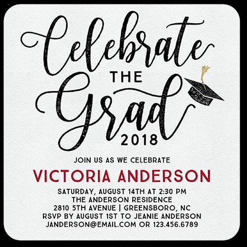 Celebratory Script Graduation Invitation, Rounded Corners