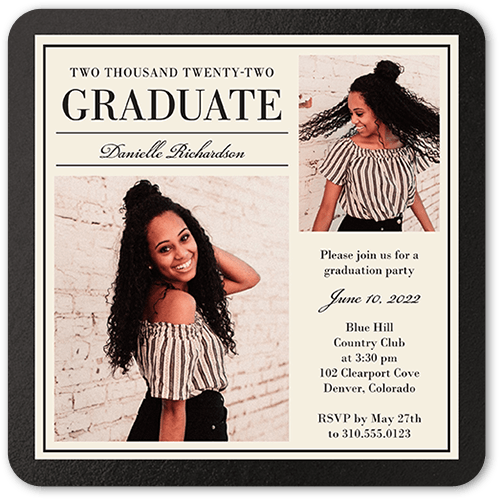 Simple Elegant Grad Graduation Invitation, Rounded Corners