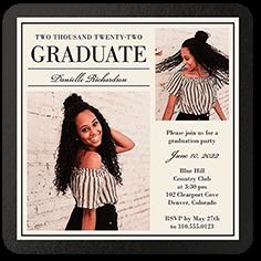 simple elegant grad graduation invitation 5x5 flat