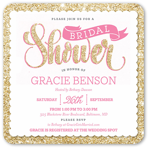 Sparkling Shower Bridal Shower Invitation, Rounded Corners