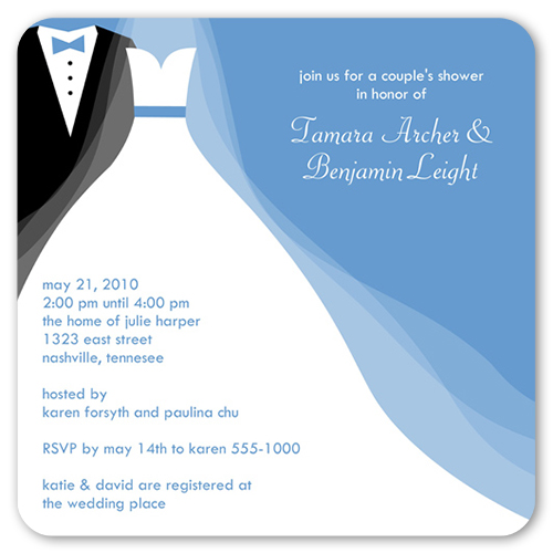 Tux And Gown Bridal Shower Invitation