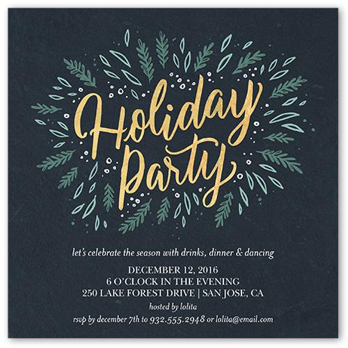 Party Foliage Holiday Invitation