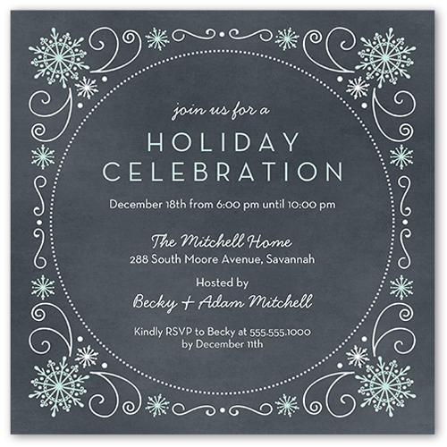 Festive Circular Flakes Holiday Invitation
