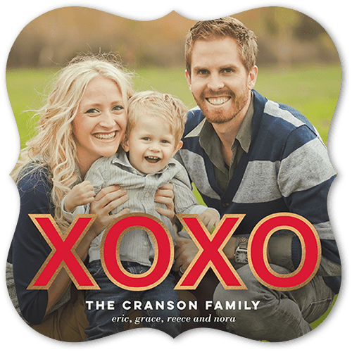 Modern XOXO Valentine's Card, Bracket Corners