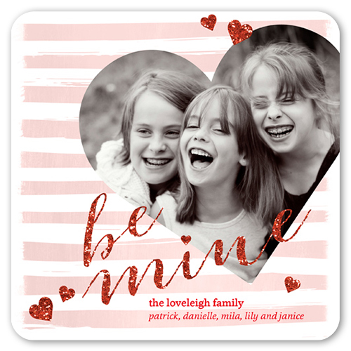 Be Mine Sparkle Valentine's Card, Rounded Corners