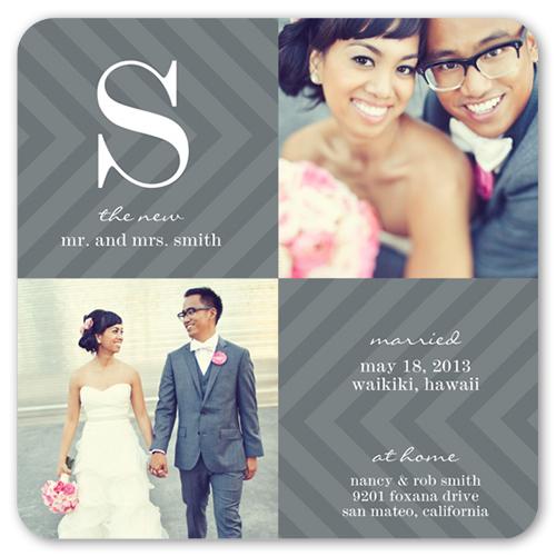 Sweet Chevron Wedding Announcement