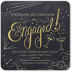 chalkboard bash engagement party invitation