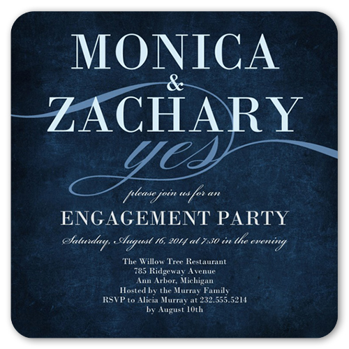 Scripted Yes Engagement Party Invitation, Rounded Corners