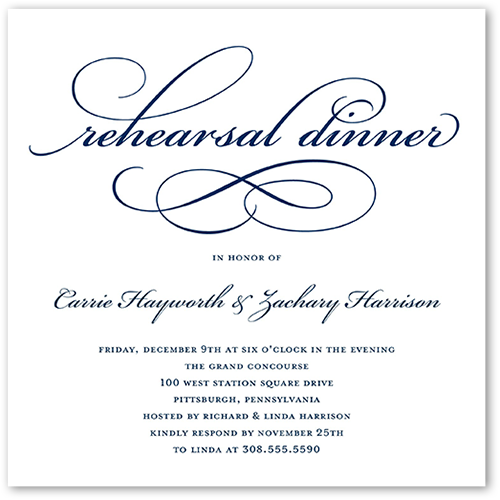 Timeless Calligraphy Rehearsal Dinner Invitation, Square Corners