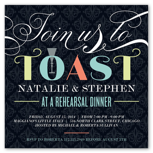 Time to toast 5x5 flat invitation rehearsal dinner invitations rehearsal dinner invitation front stopboris Image collections