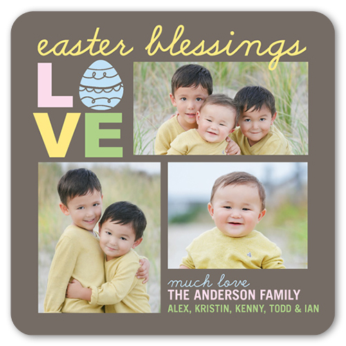 Love And Blessings Easter Card, Rounded Corners