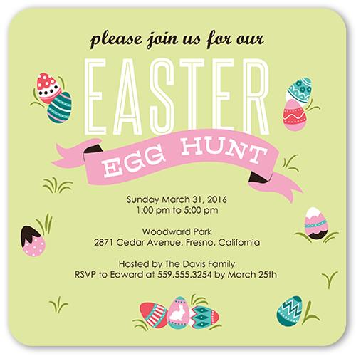 Egg Hunt Banner Easter Invitation, Rounded Corners