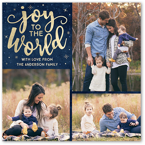 World Joy Religious Christmas Card, Square Corners