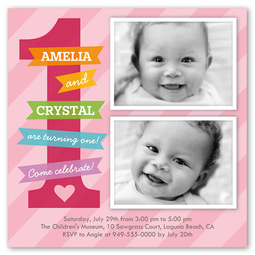 Little Airplane X Photo Card Twin Birthday Invitations - Birthday invitation cards twins