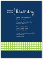 happy blue party invitation 5x7 flat