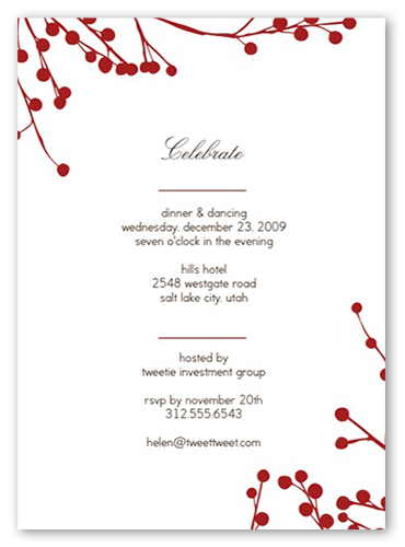 Red Blossoms Party Invitation