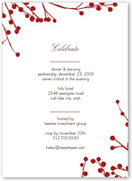 red blossoms party invitation 5x7 flat