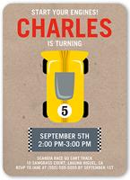 race car party birthday invitation 5x7 flat