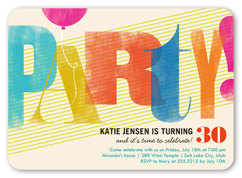 colorful party surprise birthday invitation shutterfly