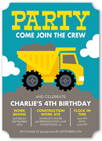 Party Truck Birthday Invitation 5x7 Flat