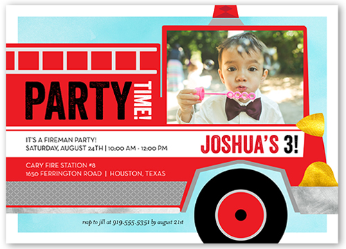 Fire Truck Fun Birthday Invitation, Square Corners