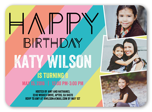 Modern Happiness Birthday Invitation, Rounded Corners