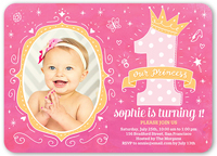 Pink 1 photo baby girls 1st birthday invitations shutterfly birthday invitation from 127 076 princess doodles filmwisefo Images