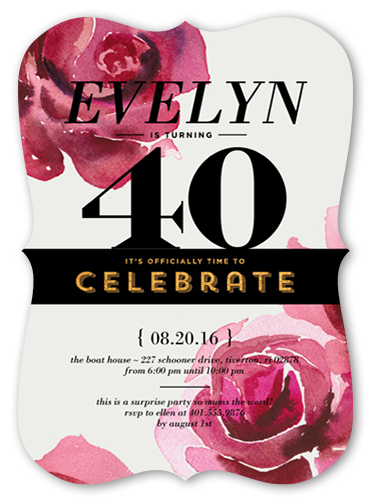 40th birthday invitations shutterfly rose celebration birthday invitation filmwisefo