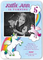 vibrant unicorns birthday invitation 5x7 flat