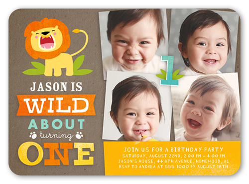 Wild About Turning One Birthday Invitation