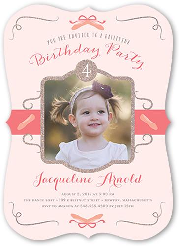 Beautiful Ballerina Birthday Invitation, Bracket Corners