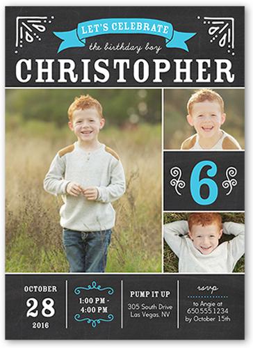 Lets Celebrate Boy 5x7 Birthday Invitations