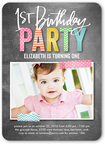 Preppy Patterned Girl Birthday Invitation