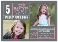 bright borders girl birthday invitation 5x7 flat