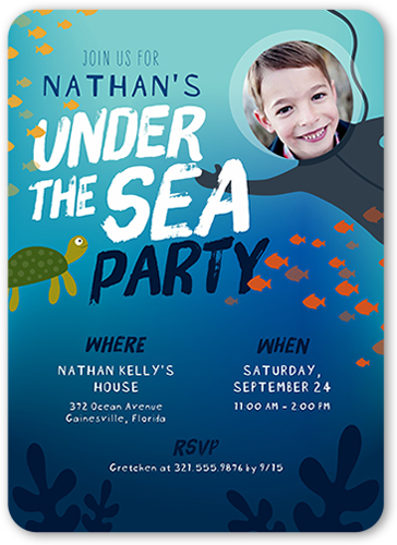 Under The Sea Birthday Invitation, Square