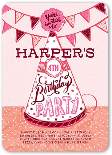 Party Hat Fun Girl Birthday Invitation