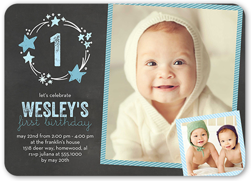 Stellar Birthday Boy Birthday Invitation, Rounded Corners