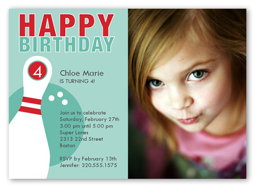 bowling party blue birthday invitation 5x7 flat