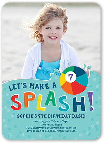 Wet And Wild Birthday Invitation, Rounded Corners