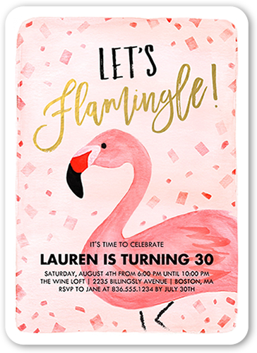 Flamingle Celebration Birthday Invitation
