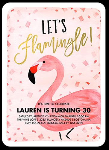 Flamingle Celebration Birthday Invitation, Rounded Corners