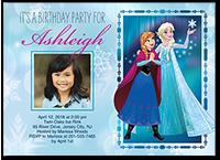 disney frozen bokeh snowflakes birthday invitation 5x7 flat