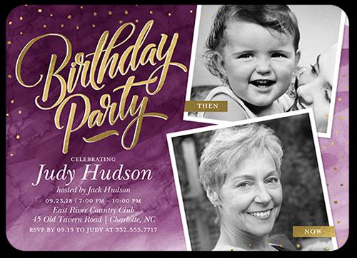 Watercolor Celebration Birthday Invitation, Rounded Corners