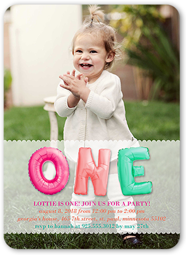 Bubble One Girl Birthday Invitation, Rounded Corners